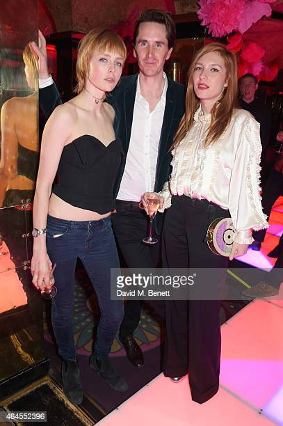 Edie Campbell Otis Ferry and Josephine de la Baume attend the Mert Marcus House of Love party for Madonna at Annabel's on February 26 2015 in London...