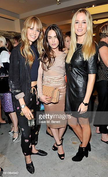 Edie Campbell Tallulah Harlech and Florence BrudenellBruce attend as Mulberry hosts the official launch event for Vogue Fashion's Night Out at their...