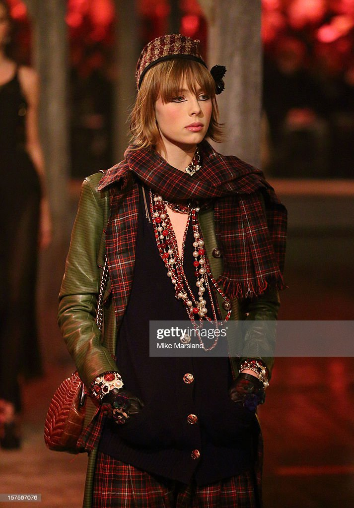 Edie Campbell walks the runway at the
