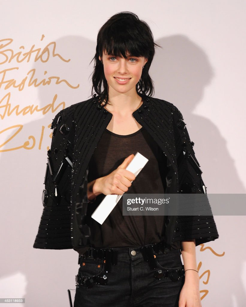 Edie Campbell with the Award for Model of the Year poses in the winners room at the British Fashion Awards 2013 at London Coliseum on December 2, 2013 in London, England.