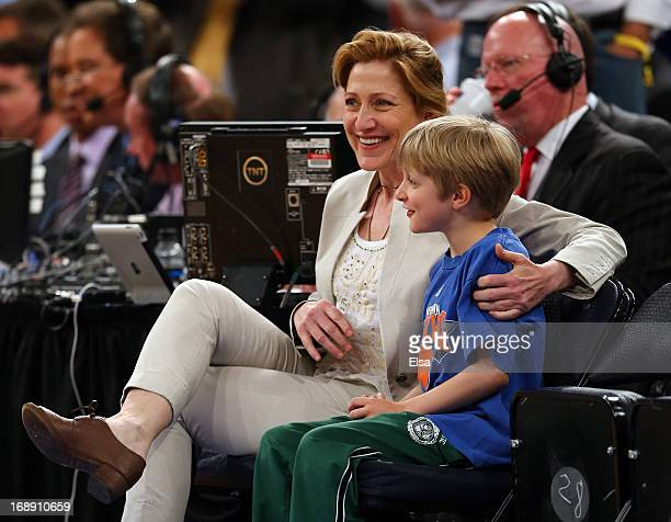 Edie Falco and her son Anderson attend Game Five of the Eastern Conference Semifinals of the 2013 NBA Playoffs between the Indiana Pacers and the New...