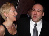 Edie Falco and James Gandolfini attend the after party for the Broadway opening of 'God of Carnage' at espace on March 22 2009 in New York City