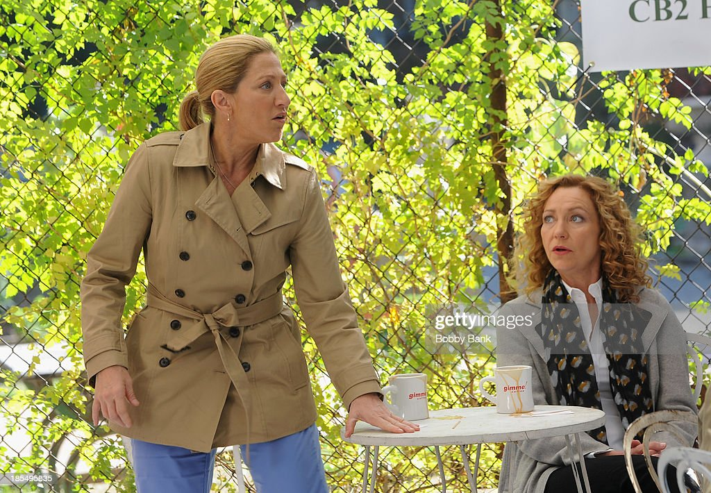 <a gi-track='captionPersonalityLinkClicked' href=/galleries/search?phrase=Edie+Falco&family=editorial&specificpeople=202111 ng-click='$event.stopPropagation()'>Edie Falco</a> and <a gi-track='captionPersonalityLinkClicked' href=/galleries/search?phrase=Julie+White&family=editorial&specificpeople=653423 ng-click='$event.stopPropagation()'>Julie White</a> on the set of 'Nurse Jackie' on October 21, 2013 in New York City.