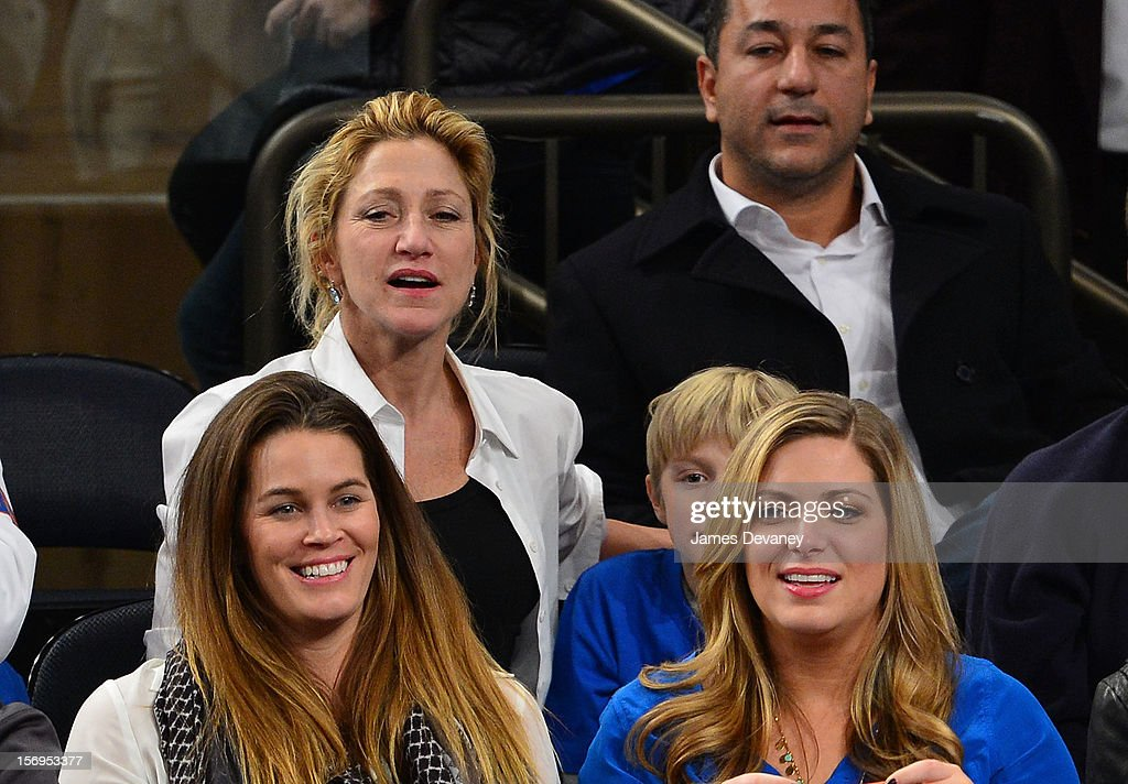Edie Falco (L) attends the Detroit Pistons vs New York Knicks game at Madison Square Garden on November 25, 2012 in New York City.