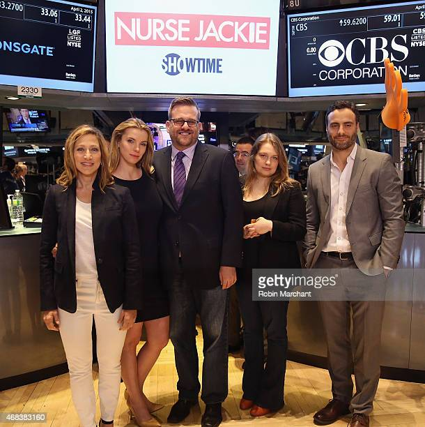 Edie Falco Betty Gilpin Stephen Wallem Merritt Wever and Dominic Fumusa of 'Nurse Jackie' Rings The New York Stock Exchange Opening Bell at New York...