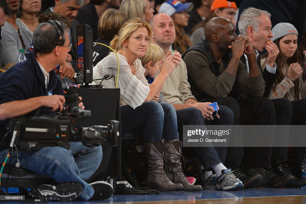 Edie Falco watches the New York Knicks on November 4, 2012 at Madison Square Garden in New York City.