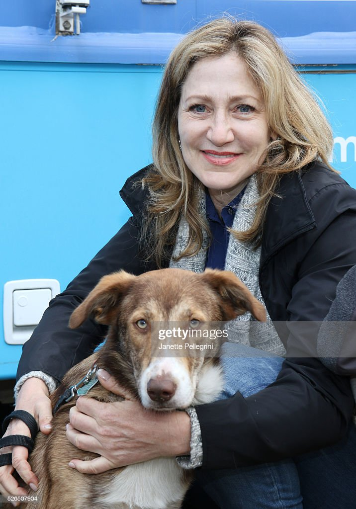 Edie Falco with her rescue dog Niko attends the 22nd Annual Global Pet Adoption Event at North Shore Animal League America on April 30, 2016 in Port Washington, New York.
