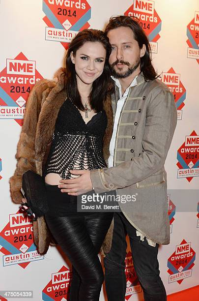 Edie Langley and Carl Barat attend the annual NME Awards at Brixton Academy on February 26 2014 in London England
