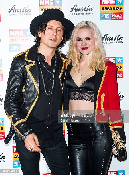 Edie Langley and Carl Barat attend the NME Awards at Brixton Academy on February 18 2015 in London England