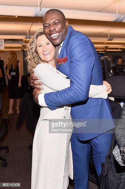 Edie Lutnick and Terrell Owens attend the Annual Charity Day hosted by Cantor Fitzgerald BGC and GFI at Cantor Fitzgerald on September 12 2016 in New...