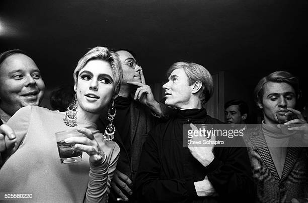 Edie Sedgwick and Andy Warhol with Entourage