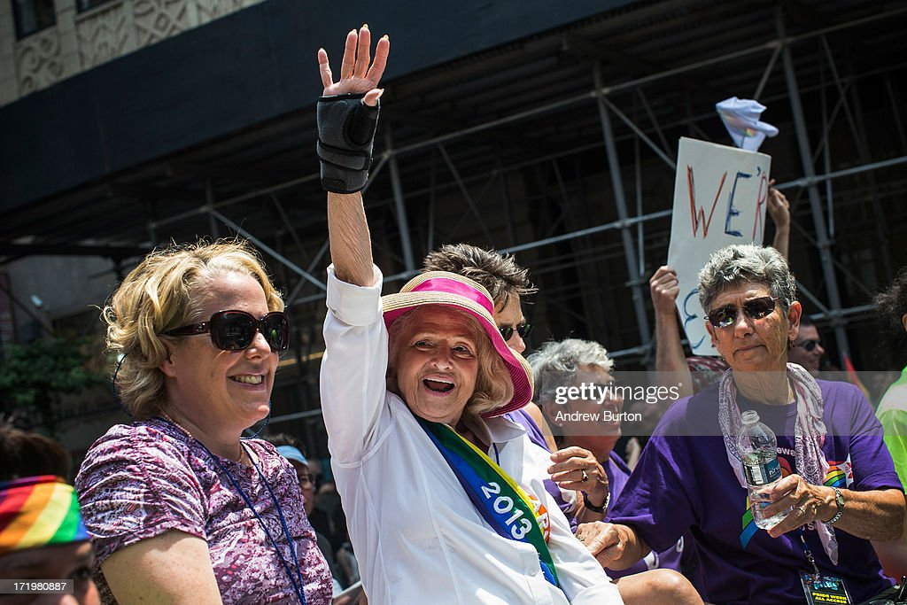Edie Windsor, who successfully sued the United States government over the constitutionality of the Defense of Marriage Act (DOMA), waves to revelers while riding in the New York Gay Pride Parade on June 30, 2013 in New York City. This year's parade was a particularly festive occasion, due to the recent Supreme Court Ruling that it was unconstitutional to ban gay marriage.
