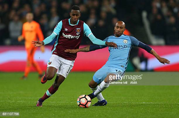 Edimilson Fernandes of West Ham and Fabian Delph of Manchester City during the Emirates FA Cup Third Round match between West Ham United and...