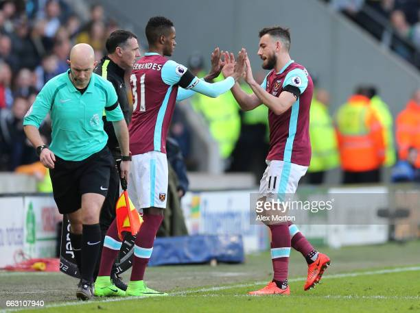 Edimilson Fernandes of West Ham United comes on for Robert Snodgrass of West Ham United during the Premier League match between Hull City and West...