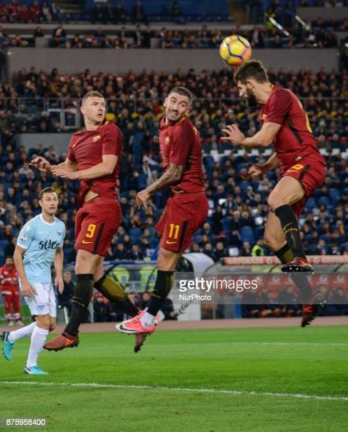 Edin Dzeko Aleksandar Kolarov Federico Fazio during the Italian Serie A football match between AS Roma and SS Lazio at the Olympic Stadium in Rome on...