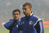 HERZEGOVINA NOVEMBER 13 Edin Dzeko and Miralem Pjanic of Bosnia look on prior the EURO 2016 Qualifier PlayOff First Leg match at Bilino Polje Stadium...