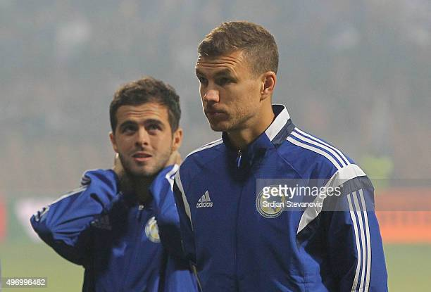 HERZEGOVINA NOVEMBER 13 Edin Dzeko and Miralem Pjanic of Bosnia look on prior the EURO 2016 Qualifier PlayOff First Leg match at Bilino Polje Stadium...