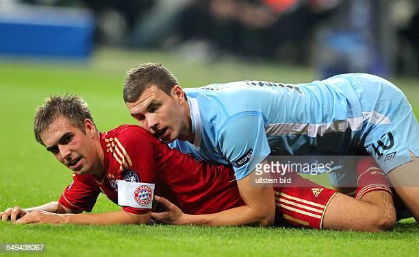 Edin Dzeko mit Philipp Lahm UEFA Champions League Saison 201112