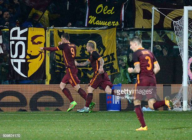 Edin Dzeko of AS Roma celebrate after scoring his team's second goal during the Serie A match between Carpi FC and AS Roma at Alberto Braglia Stadium...