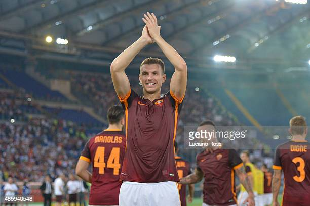 Edin Dzeko of AS Roma celebrates the victory after the Serie A match between AS Roma and Juventus FC at Stadio Olimpico on August 30 2015 in Rome...