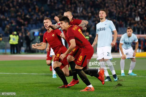 Edin Dzeko of AS Roma Diego Perotti of AS Roma Radja Nainggolan of AS Roma during the Italian Serie A match between AS Roma v Lazio at the Stadio...