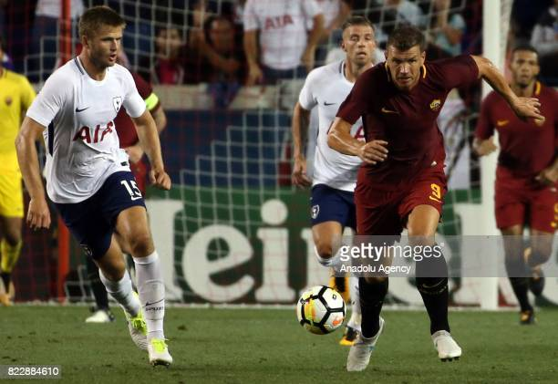 Edin Dzeko of AS Roma in action against Eric Dier of Tottenham during a friendly match between AS Roma and Tottenham within International Champions...