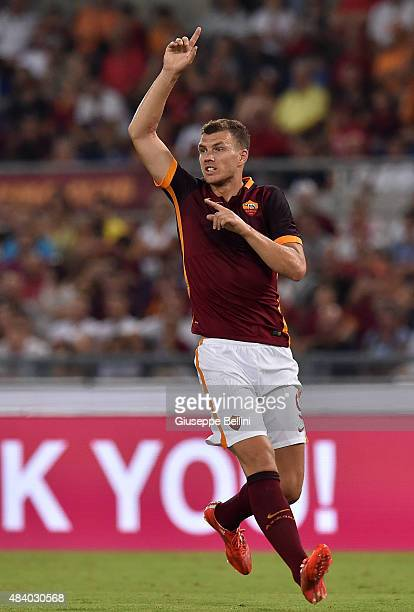 Edin Dzeko of AS Roma in action during the preseason friendly match between AS Roma and Sevilla FC at Olimpico Stadium on August 14 2015 in Rome Italy