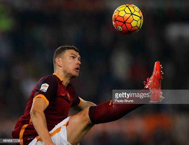 Edin Dzeko of AS Roma in action during the Serie A match between AS Roma and Udinese Calcio at Stadio Olimpico on October 28 2015 in Rome Italy