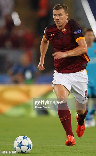Edin Dzeko of AS Roma in action during the UEFA Champions League Group E match between AS Roma and FC Barcelona at Stadio Olimpico on September 16...