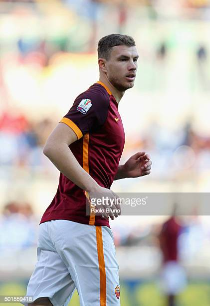 Edin Dzeko of AS Roma looks on during the TIM Cup match between AS Roma and AC Spezia at Stadio Olimpico on December 16 2015 in Rome Italy