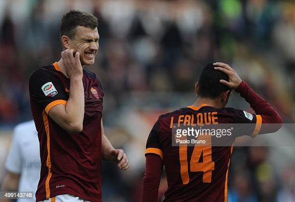Edin Dzeko of AS Roma reacts during the Serie A match between AS Roma and Atalanta BC at Stadio Olimpico on November 29 2015 in Rome Italy