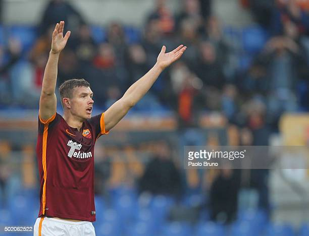 Edin Dzeko of AS Roma reacts during the Serie A match between AS Roma and Genoa CFC at Stadio Olimpico on December 20 2015 in Rome Italy