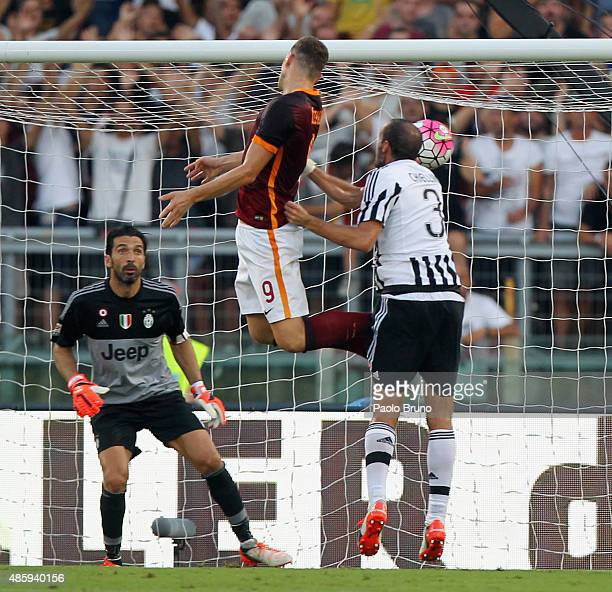 Edin Dzeko of AS Roma scores the team's second goal during the Serie A match between AS Roma and Juventus FC at Stadio Olimpico on August 30 2015 in...