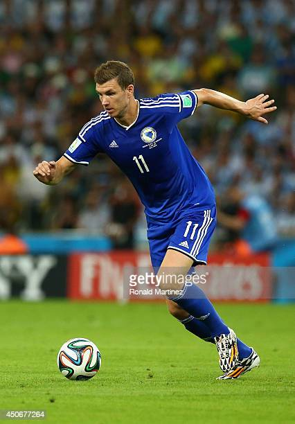 Edin Dzeko of Bosnia and Herzegovina controls the ball during the 2014 FIFA World Cup Brazil Group F match between Argentina and BosniaHerzegovina at...