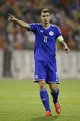 Edin Dzeko of Bosnia and Herzegovina during the UEFA Euro 2016 qualifying match between Belgium and Bosnia and Herzegovina on September 3 2015 at the...