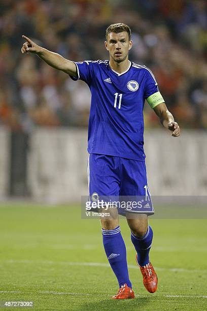 Edin Dzeko of Bosnia and Herzegovina during the UEFA Euro 2016 qualifying match between Belgium and Bosnia and Herzegovina on September 3 2015 at the...
