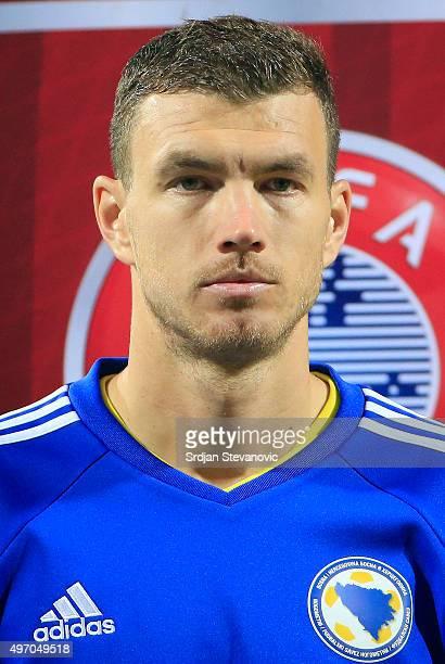 HERZEGOVINA NOVEMBER 13 Edin Dzeko of Bosnia and Herzegovina looks prior the EURO 2016 Qualifier PlayOff First Leg match at Bilino Polje Stadium on...