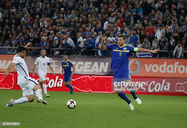 Edin Dzeko of Bosnia Herzegovina in action during the 2018 World Cup qualifying Group H football match between Greece and Bosnia and Herzegovina at...