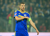 HERZEGOVINA NOVEMBER 13 Edin Dzeko of Bosnia looks on during the EURO 2016 Qualifier PlayOff First Leg match at Bilino Polje Stadium on November 13...