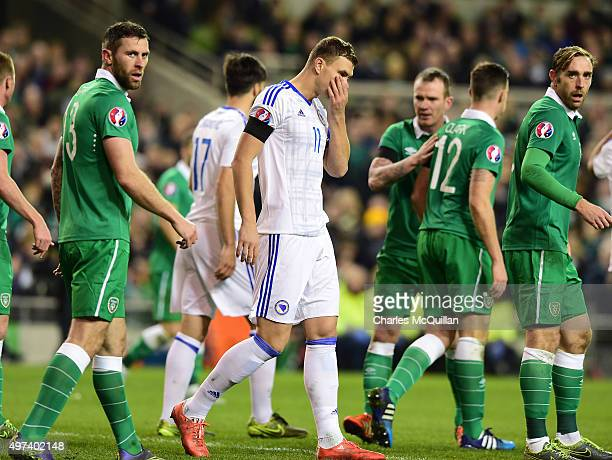 Edin Dzeko of BosniaHerzegovina rues a missed chance during the Euro 2016 playoff second leg match between the Republic of Ireland and...
