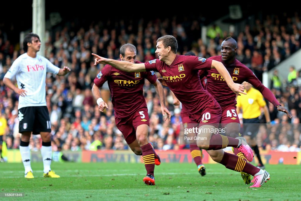 Edin Dzeko #10 of Manchester City celebrates after scoring his team's second goal during the Barclays Premier League match between Fulham and Manchester City at Craven Cottage on September 29, 2012 in London, England.
