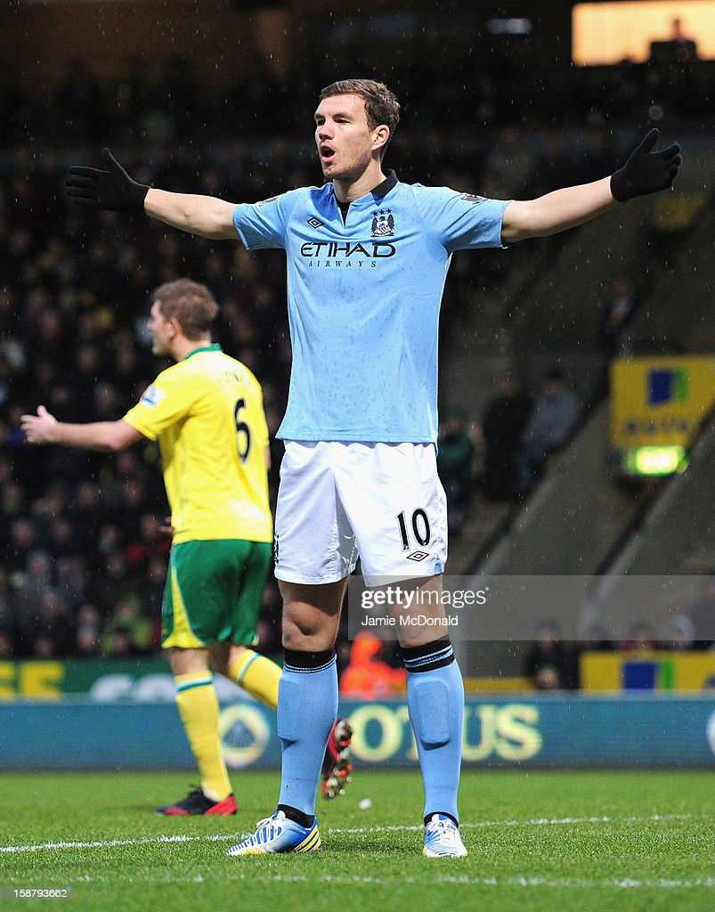 Edin Dzeko of Manchester City celebrates scoring the opening goal during the Barclays Premier League match between Norwich City and Manchester City at Carrow Road on December 29, 2012 in Norwich, England.