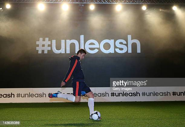 Edin Dzeko of Manchester City in action at the launch of the new adidas Predator Lethal Zones football boot The boot designed with five deadly zones...