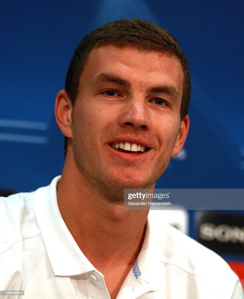 Edin Dzeko of Manchester City talks to the media during a press conference ahead of the UEFA Champions League group A first leg match against Bayern Muenchen at Allianz Arena on September 26, 2011 in Munich, Germany.