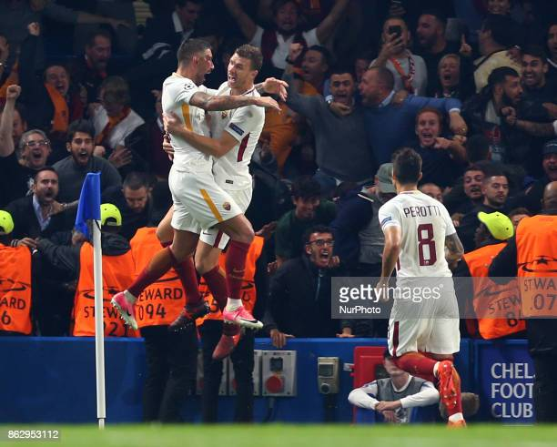 Edin Dzeko of Roma celebrates with Aleksandar Kolarov of Roma during UEFA Champions League Group C MATCH 3 match between Chelsea against AS Roma at...