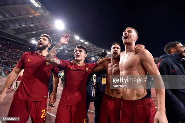 Edin Dzeko of RomaDiego Perotti of Roma Gerson of Roma and Kevin Strootman of Roma celebrate the victory at the end of the Serie A match between Roma...