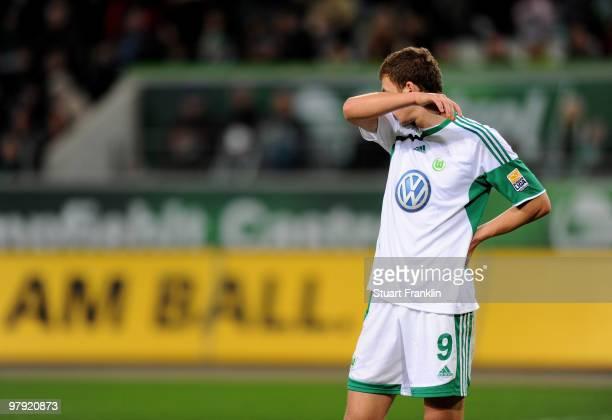 Edin Dzeko of Wolfsburg looks dejected during the Bundesliga match between VfL Wolfsburg and Hertha BSC Berlin at Volkswagen Arena on March 21 2010...