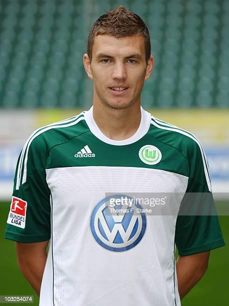 Edin Dzeko poses during the VfL Wolfsburg Team Presentation at the Volkswagen Arena on August 5 2010 in Wolfsburg Germany