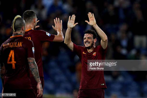 Edin Dzeko with his teammate Alessandro Florenzi of AS Roma celebrates after scoring the team's third goal during the Serie A match between AS Roma...