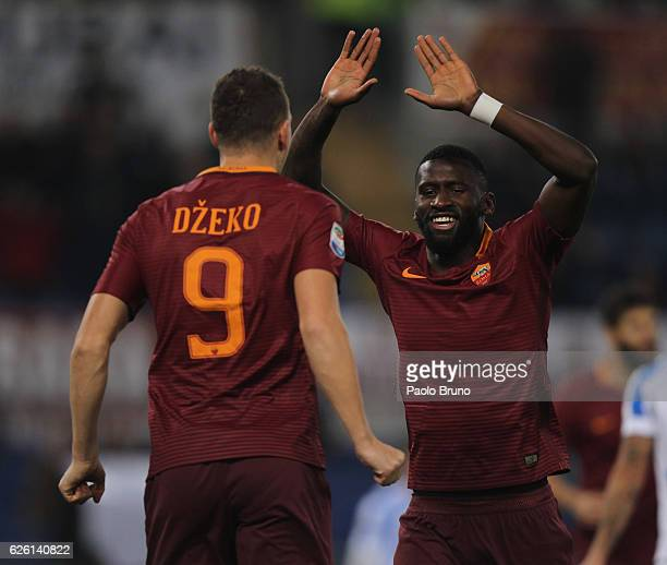 Edin Dzeko with his teammate Antonio Rudiger of AS Roma celebrates after scoring the opening goal during the Serie A match between AS Roma and...